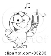 Royalty Free RF Clipart Illustration Of An Outlined Chatty Bird