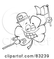 Royalty Free RF Clipart Illustration Of An Outlined Irish Clover