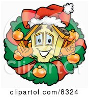 Clipart Picture Of A House Mascot Cartoon Character In The Center Of A Christmas Wreath