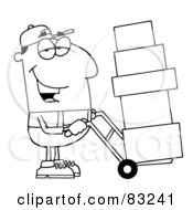 Royalty Free RF Clipart Illustration Of An Outlined Delivery Guy by Hit Toon