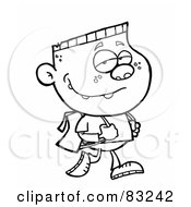 Royalty Free RF Clipart Illustration Of An Outlined Walking School Boy