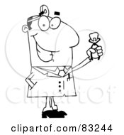 Royalty Free RF Clipart Illustration Of An Outlined Dentist