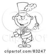 Royalty Free RF Clipart Illustration Of An Outlined Drummer Boy