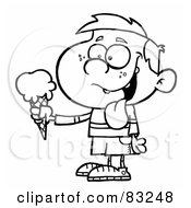 Royalty Free RF Clipart Illustration Of An Outlined Boy With Ice Cream