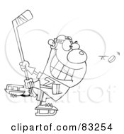 Royalty Free RF Clipart Illustration Of An Outlined Hockey Bear