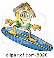 Clipart Picture Of A House Mascot Cartoon Character Surfing On A Blue And Yellow Surfboard