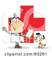 Royalty Free RF Clipart Illustration Of A Male Vet With A Dog Over A Red Cross by Hit Toon