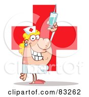 Royalty Free RF Clipart Illustration Of A Female Nurse Holding A Syringe Over A Red Cross by Hit Toon