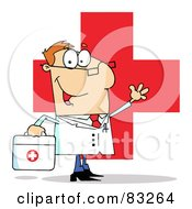 Friendly Male Doctor Waving Over A Red Cross