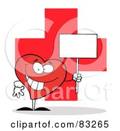 Red Heart Holding A Blank Sign Over A Red Cross