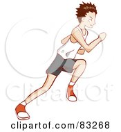 Royalty Free RF Clipart Illustration Of A Profile Of A Sprinting Boy by Bad Apples