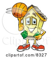 Clipart Picture Of A House Mascot Cartoon Character Spinning A Basketball On His Finger