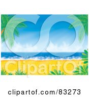 Royalty Free RF Clipart Illustration Of Palm Trees And Bushes Framing A Golden Sandy Beach With Blue Waters
