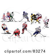Royalty Free RF Clipart Illustration Of A Digital Collage Of Single And Competing Ice Hockey Players by leonid