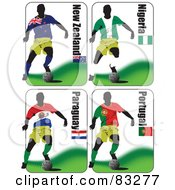 Royalty Free RF Clipart Illustration Of A Digital Collage Of Soccer World Cup Players From New Zealand Nigeria Paraguay And Portugal by leonid