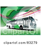 Royalty Free RF Clipart Illustration Of A Green And White City Bus On A Background Of Tiles And Waves by leonid