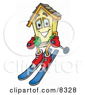 Clipart Picture Of A House Mascot Cartoon Character Skiing Downhill