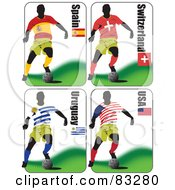 Royalty Free RF Clipart Illustration Of A Digital Collage Of Soccer World Cup Players From Spain Switzerland Uruguay And USA by leonid