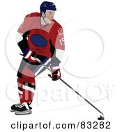 Royalty Free RF Clipart Illustration Of A Single Ice Hockey Player by leonid