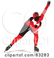 Royalty Free RF Clipart Illustration Of A Speed Skater In A Red And Black Uniform by leonid