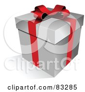 Royalty Free RF Clipart Illustration Of A Red Ribbon And Blow Enclosing A Gift Box