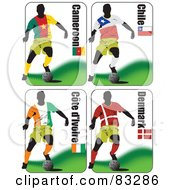 Royalty Free RF Clipart Illustration Of A Digital Collage Of Soccer World Cup Players From Cameraoon Chile Ivory Coast And Denmark by leonid