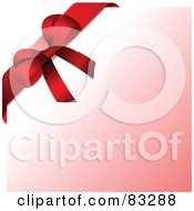Royalty Free RF Clipart Illustration Of A Red Ribbon Gift Bow In The Upper Left Corner Over Gradient Pink