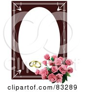 Royalty Free RF Clipart Illustration Of A Pink Rose Bouquet In The Corner Of An Oval Wedding Frame With Golden Rings