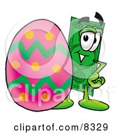 Dollar Bill Mascot Cartoon Character Standing Beside An Easter Egg by Toons4Biz