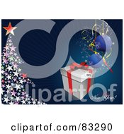 Royalty Free RF Clipart Illustration Of A Happy New Year Greeting With A Present Baubles And Starry Tree On Blue by leonid