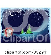 Royalty Free RF Clipart Illustration Of An Icy Border Around A Crescent Moon Over A Present And Evergreens by leonid