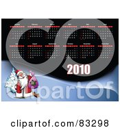 Royalty Free RF Clipart Illustration Of A 2010 Yearly Calendar With All Months Above Santa On A Snowy Hill by leonid