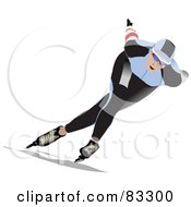 Royalty Free RF Clipart Illustration Of A Speed Skater In A Blue And Black Uniform