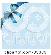 Royalty Free RF Clipart Illustration Of A Blue Ribbon And Bow Over Ornate Royal Wrapping Paper