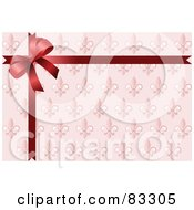 Royalty Free RF Clipart Illustration Of A Red Ribbon And Bow Over Ornate Royal Pink Wrapping Paper