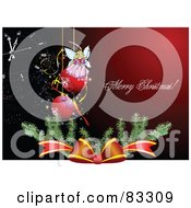 Royalty Free RF Clipart Illustration Of A Merry Christmas Greeting On Red With A Bough Bow Angel And Baubles Over A Clock by leonid
