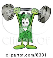 Clipart Picture Of A Dollar Bill Mascot Cartoon Character Holding A Heavy Barbell Above His Head