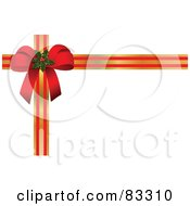 Royalty Free RF Clipart Illustration Of A Red Holly Bow In The Corner Of Gold And Red Striped Ribbons On White by leonid