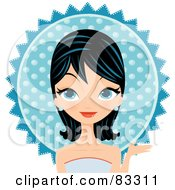 Royalty Free RF Clipart Illustration Of A Black Haired Blue Eyed Formal Woman Wearing A Blue Gown And Earrings In Front Of A Blue Sun by Melisende Vector