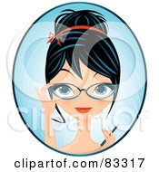 Royalty Free RF Clipart Illustration Of A Black Haired Blue Eyed Female Secretary Holding A Pen And Adjusting Her Glasses by Melisende Vector #COLLC83317-0068