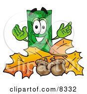 Clipart Picture Of A Dollar Bill Mascot Cartoon Character With Autumn Leaves And Acorns In The Fall