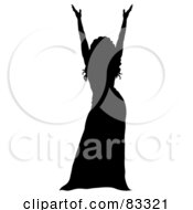 Royalty Free RF Clipart Illustration Of A Black Silhouette Of A Female Performer Holding Up Her Arms