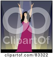 Royalty Free RF Clipart Illustration Of A Female Performer In A Pink Dress Holding Up Her Arms On Stage by Pams Clipart