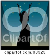 Royalty Free RF Clipart Illustration Of A Black Silhouette Of A Female Performer Holding Up Her Arms On Stage by Pams Clipart