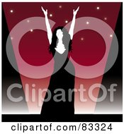 Royalty Free RF Clipart Illustration Of A Female Performer In A Black Dress Holding Up Her Arms On Stage by Pams Clipart