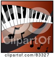 Curved Keyboard Over A Red And Orange Background With Music Notes