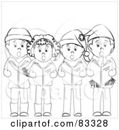 Royalty Free RF Clipart Illustration Of A Group Of Black And White Boys And Girls Standing And Christmas Caroling by Pams Clipart