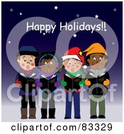 Royalty-Free (RF) Clipart Illustration of a Happy Holidays Greeting Above Boys And Girls Singing Christmas Carols Under The Stars by Pams Clipart #COLLC83329-0007