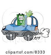 Dollar Bill Mascot Cartoon Character Driving A Blue Car And Waving