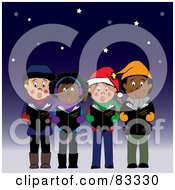Royalty Free RF Clipart Illustration Of A Diverse Group Of Boys And Girls Singing Christmas Carols Under The Stars